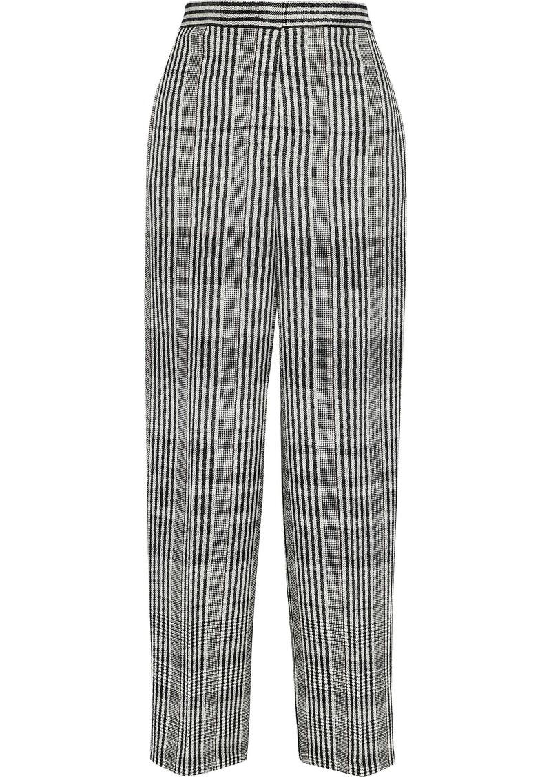 Jil Sander Woman Cropped Checked Wool-blend Wide-leg Pants Black