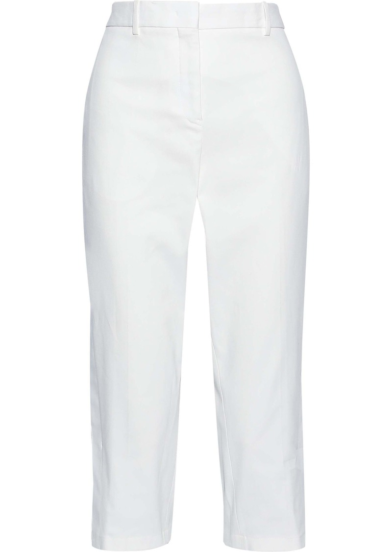 Jil Sander Woman Cropped Cotton-blend Twill Tapered Pants White