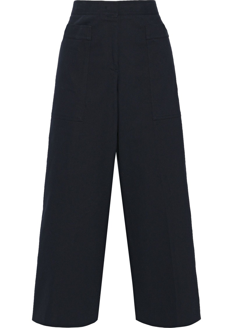 Jil Sander Woman Cropped Cotton-blend Twill Wide-leg Pants Midnight Blue