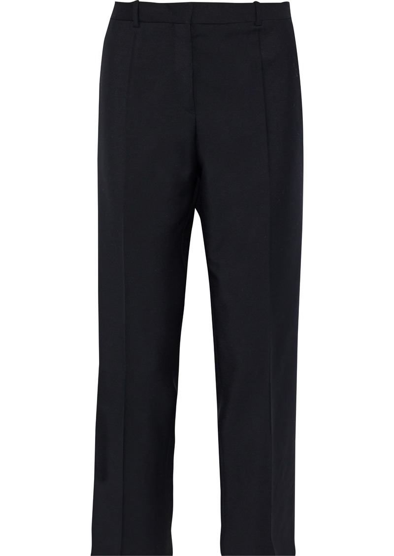 Jil Sander Woman Cropped Wool And Mohair-blend Straight-leg Pants Black
