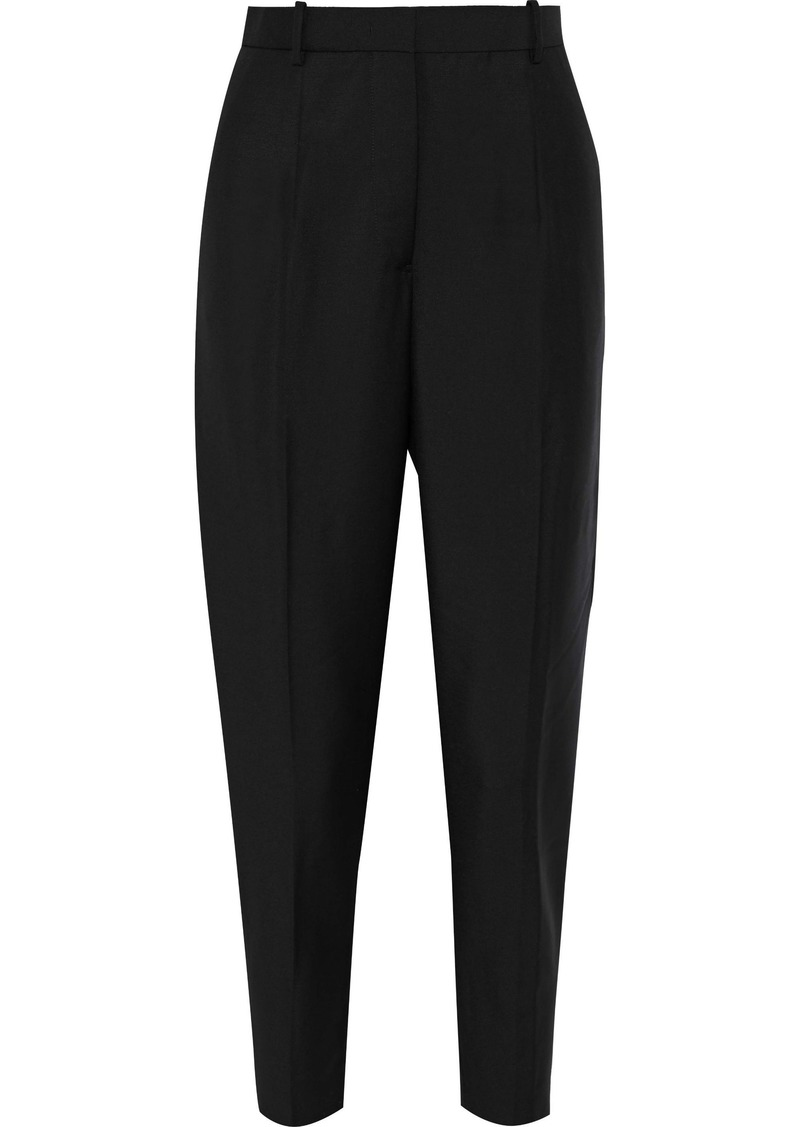 Jil Sander Woman Cropped Wool And Mohair-blend Tapered Pants Black