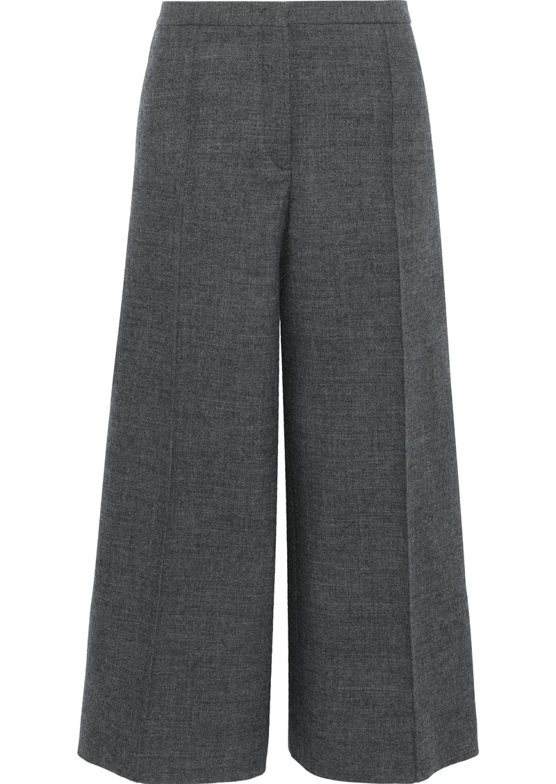 Jil Sander Woman Cropped Wool-tweed Wide-leg Pants Dark Gray