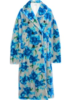 Jil Sander Woman Double-breasted Floral-print Mohair And Cotton-blend Coat Bright Blue