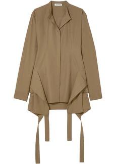 Jil Sander Woman Draped Cotton-poplin Shirt Tan