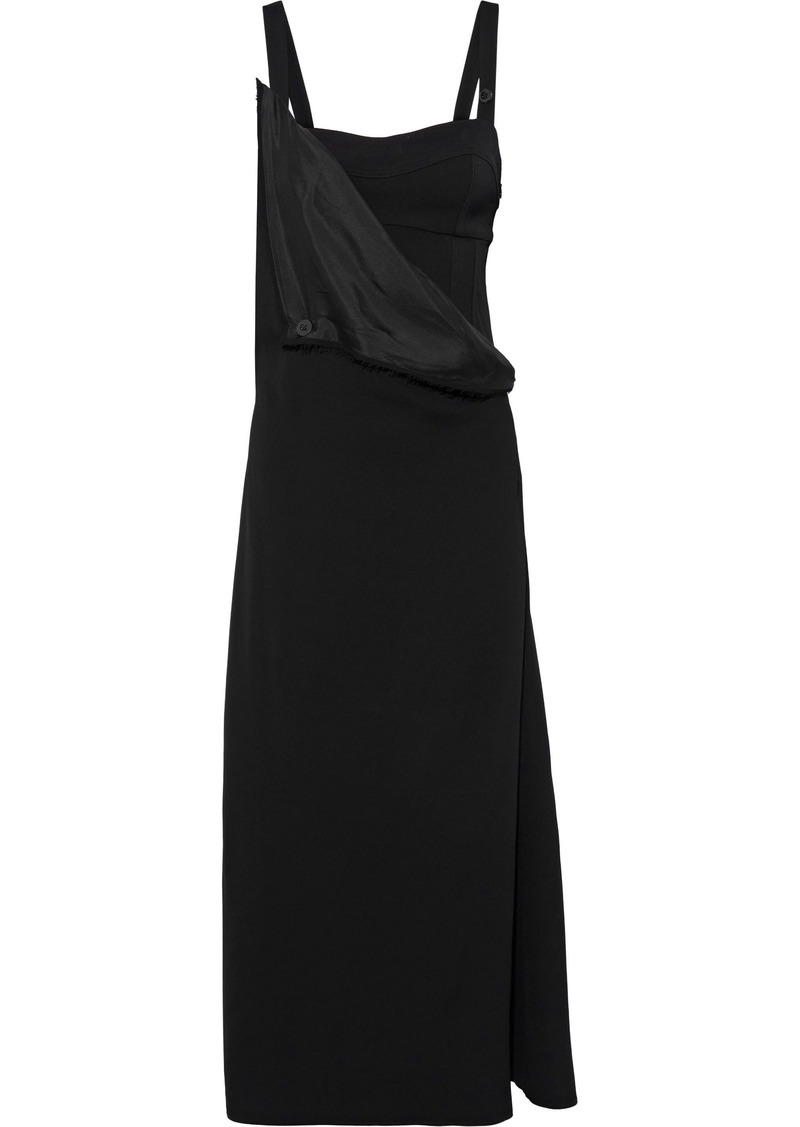 Jil Sander Woman Draped Satin-paneled Crepe Midi Dress Black