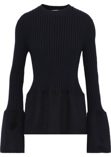 Jil Sander Woman Felt-paneled Ribbed Cashmere Top Midnight Blue