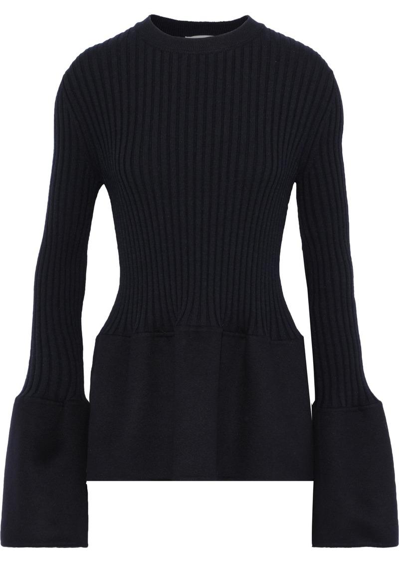Jil Sander Woman Felt-paneled Ribbed Cashmere Top Midnight Blue