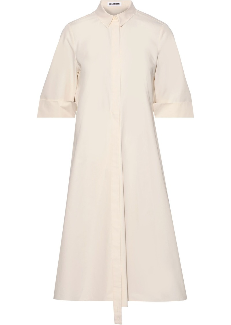 Jil Sander Woman Flared Cotton-poplin Shirt Dress Beige
