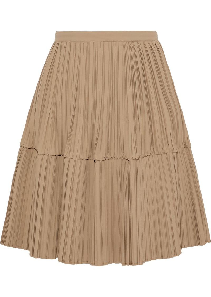 Jil Sander Woman Flared Plissé-poplin Skirt Camel