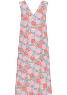 Jil Sander Woman Floral-jacquard Midi Dress Grey Green