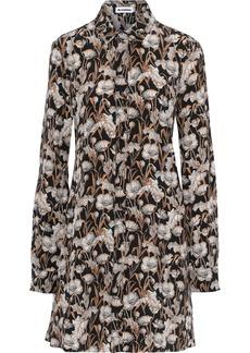 Jil Sander Woman Floral-print Silk Crepe De Chine Mini Shirt Dress Black