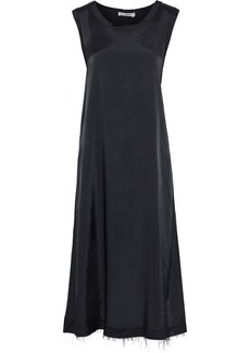 Jil Sander Woman Frayed Satin-twill Midi Dress Black
