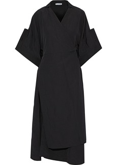 Jil Sander Woman Galatea Woven Midi Wrap Dress Black