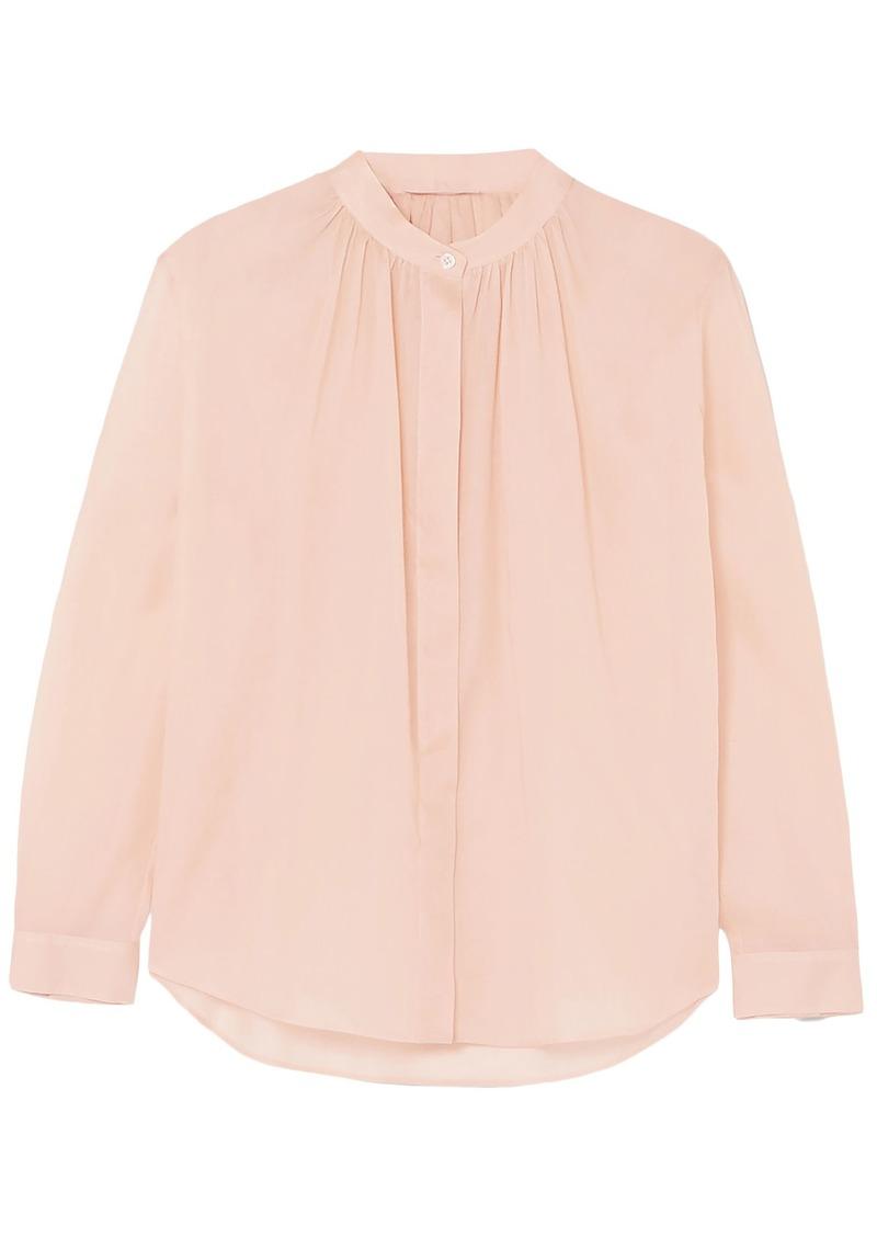 Jil Sander Woman Gathered Cotton-organza Shirt Blush