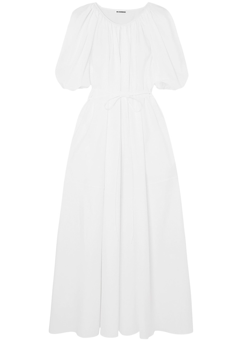 Jil Sander Woman Gathered Cotton-poplin Maxi Dress White
