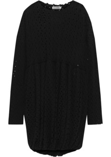 Jil Sander Woman Gathered Crocheted Wool-blend Dress Black