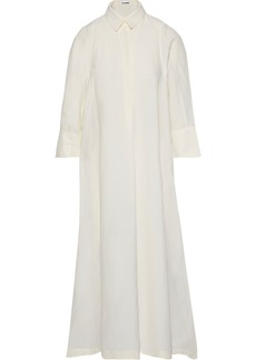 Jil Sander Woman Gauze Maxi Shirt Dress Ivory