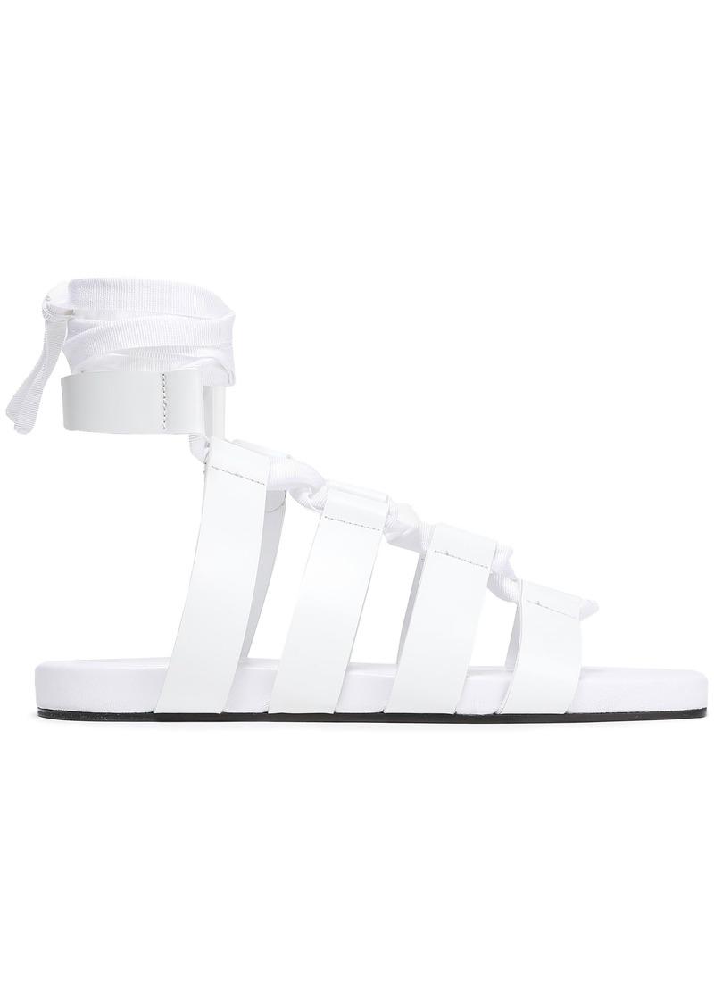 Jil Sander Woman Lace-up Leather Sandals White