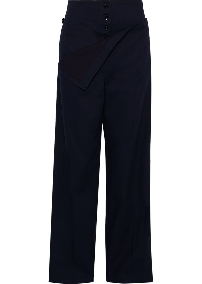 Jil Sander Woman Layered Button-detailed Cotton Wide-leg Pants Midnight Blue