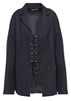 Jil Sander Woman Layered Lace-up Wool-drill Coat Midnight Blue