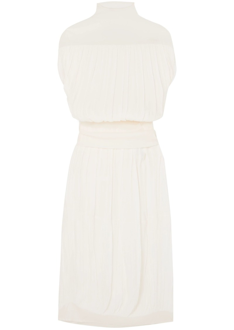 Jil Sander Woman Layered Pleated Broadcloth Maxi Dress Off-white