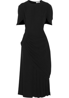 Jil Sander Woman Layered Pleated Crepe Midi Dress Black