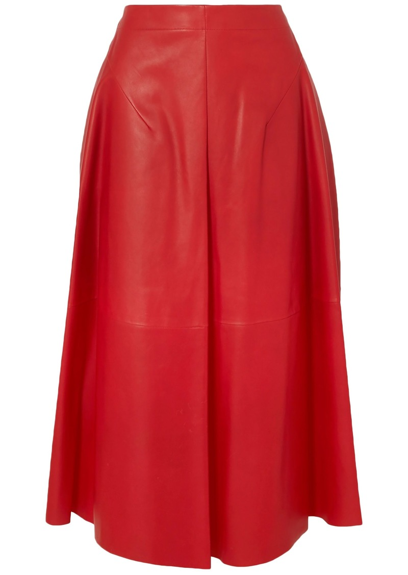 Jil Sander Woman Leather Midi Skirt Red