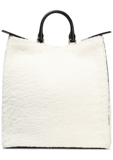 Jil Sander Woman Marine Leather-trimmed Shearling Tote Off-white