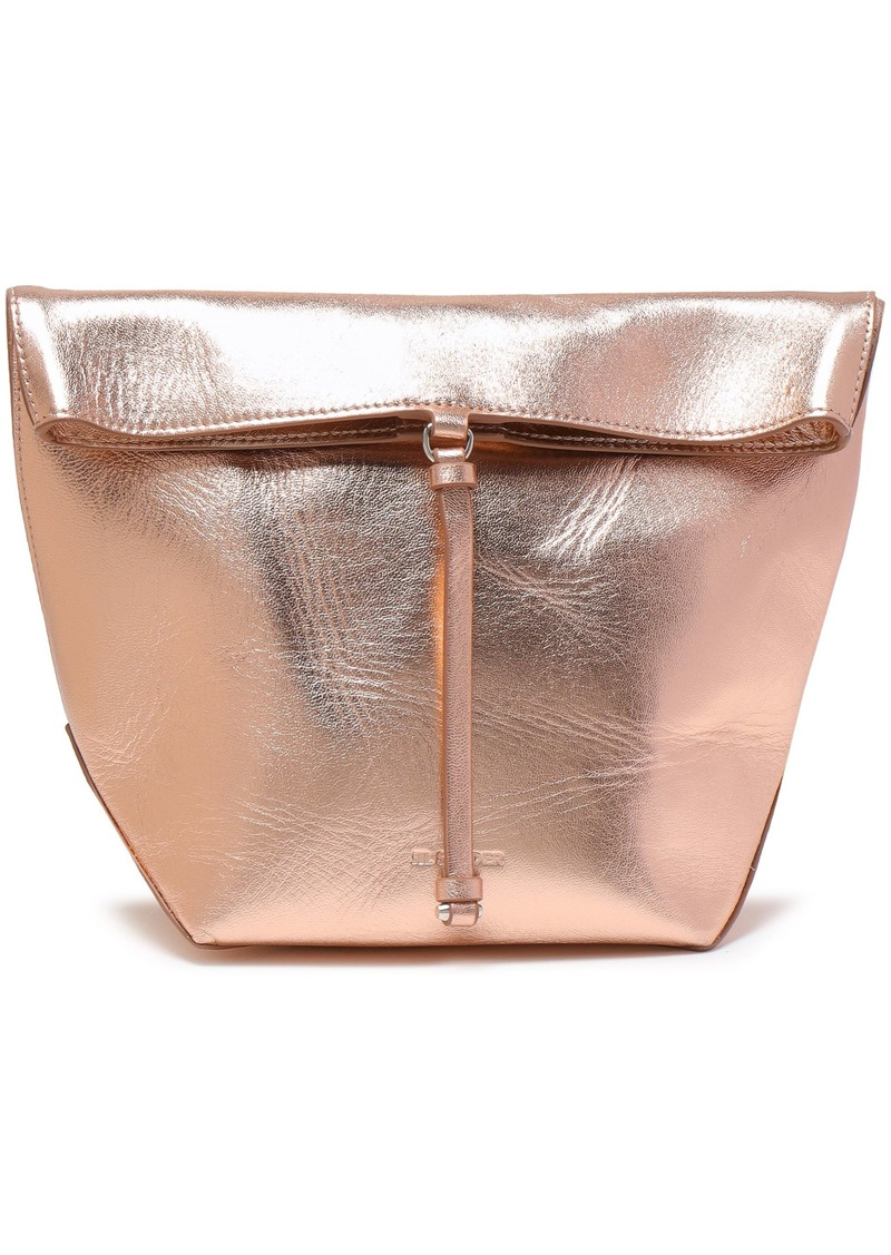 Jil Sander Woman Metallic Textured-leather Clutch Rose Gold