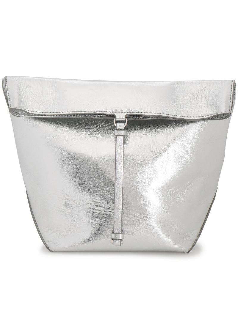 Jil Sander Woman Metallic Textured-leather Clutch Silver