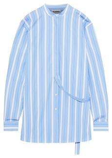 Jil Sander Woman Oversized Striped Cotton-poplin Shirt Sky Blue