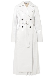 Jil Sander Woman Pleated Coated Cotton-blend Trench Coat White