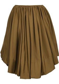 Jil Sander Woman Pleated Cotton-poplin Skirt Army Green