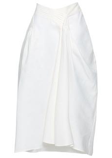 Jil Sander Woman Pleated Cotton-twill Midi Skirt White