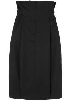 Jil Sander Woman Pleated Wool-twill Skirt Black