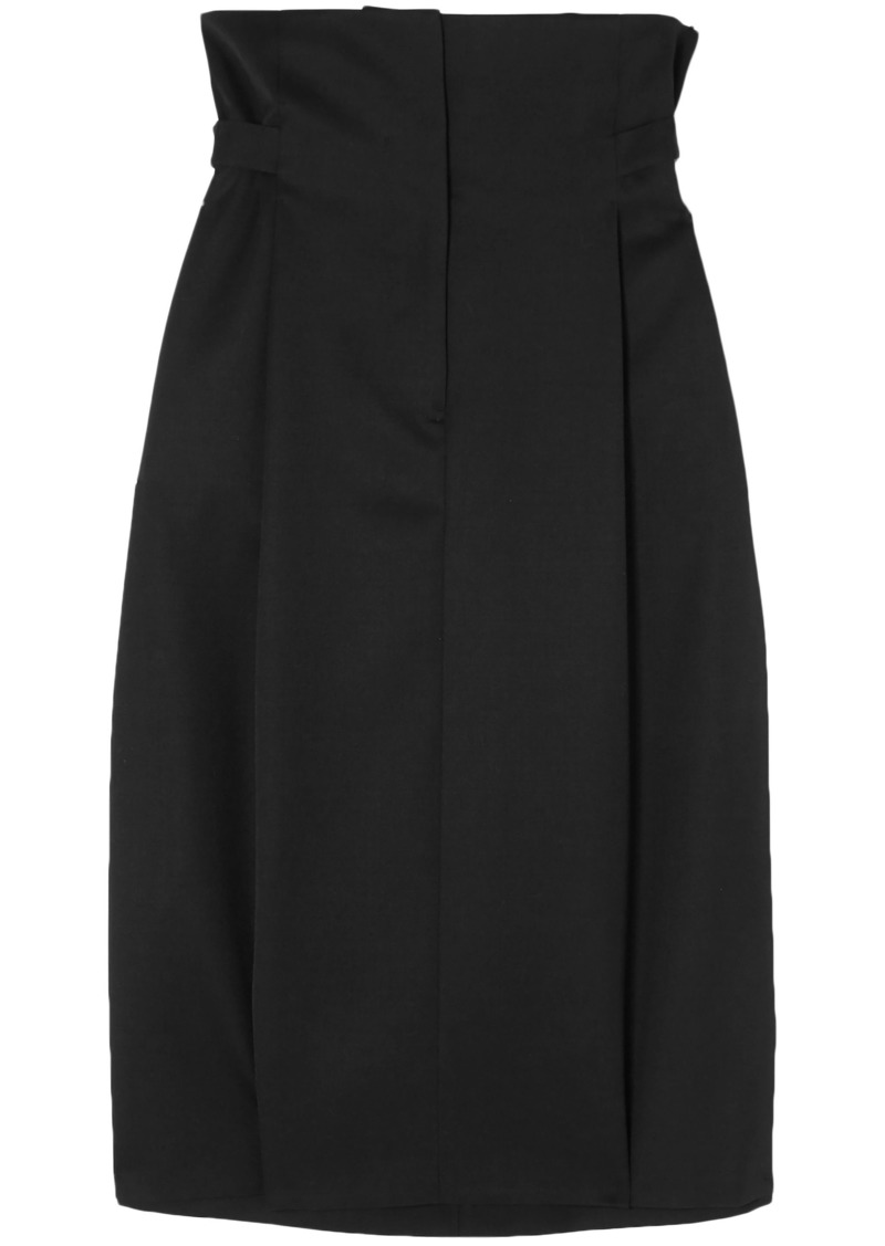 Jil Sander Woman Pleated Wool-twill Skirt Black