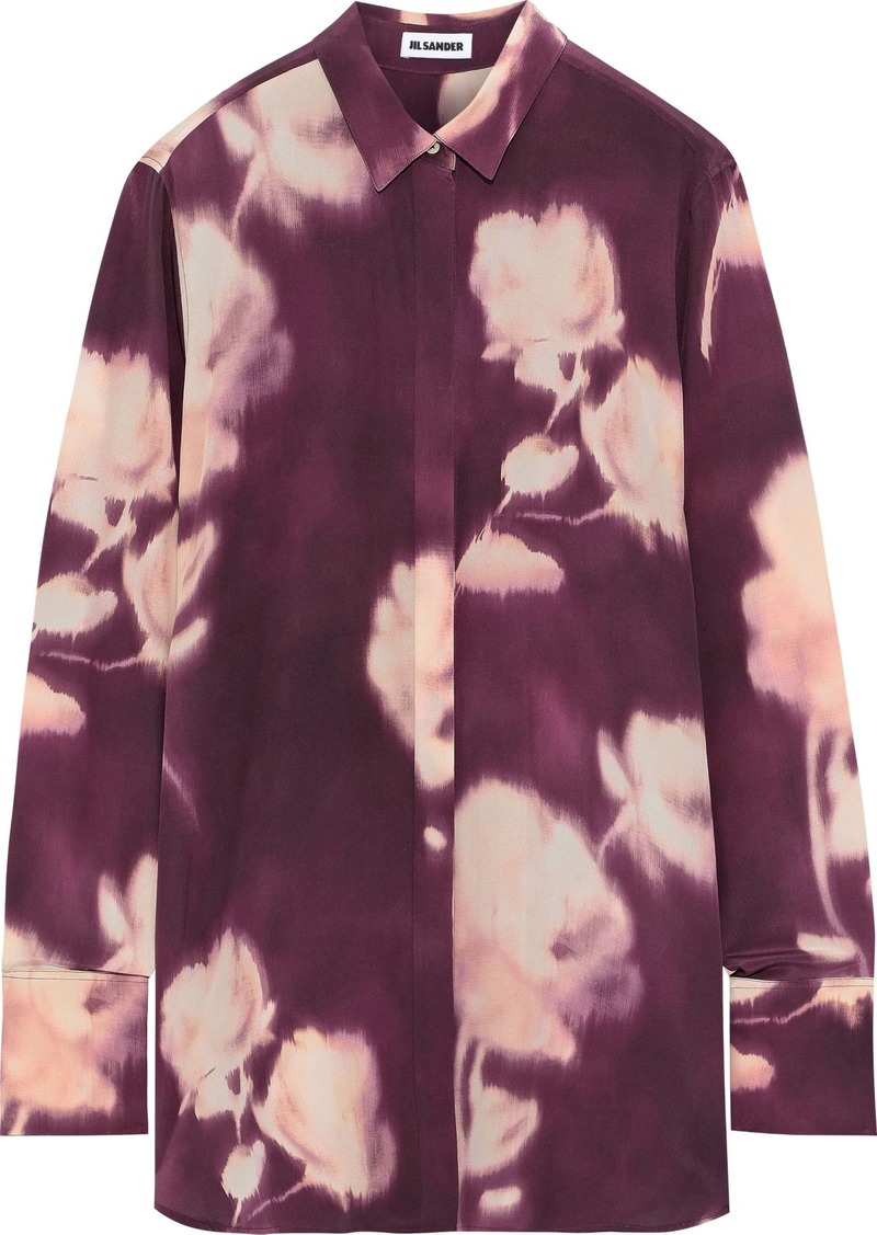 Jil Sander Woman Printed Silk Shirt Plum