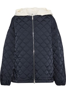 Jil Sander Woman Quilted Shell Hooded Jacket Storm Blue