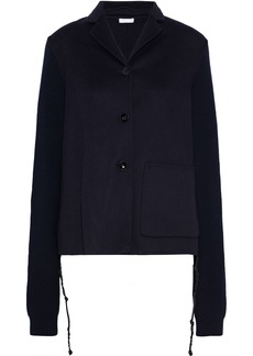 Jil Sander Woman Ribbed Knit-paneled Cashmere-felt Jacket Midnight Blue
