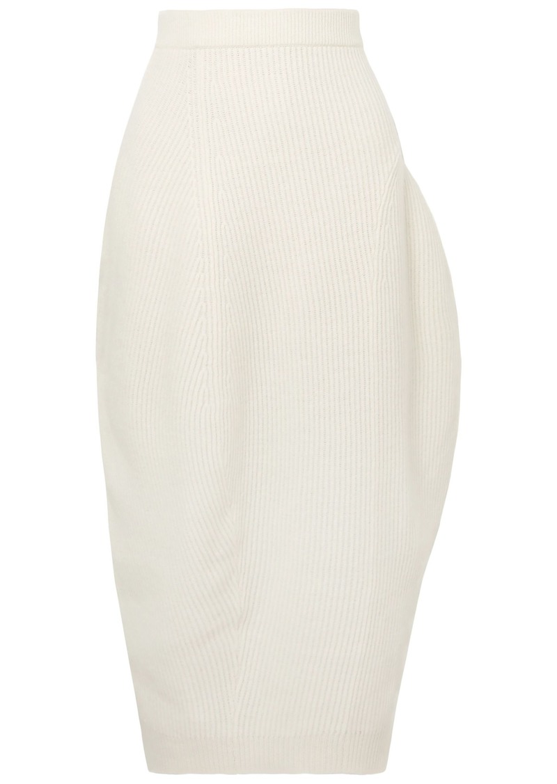 Jil Sander Woman Ribbed Wool And Cashmere-blend Midi Skirt Ivory