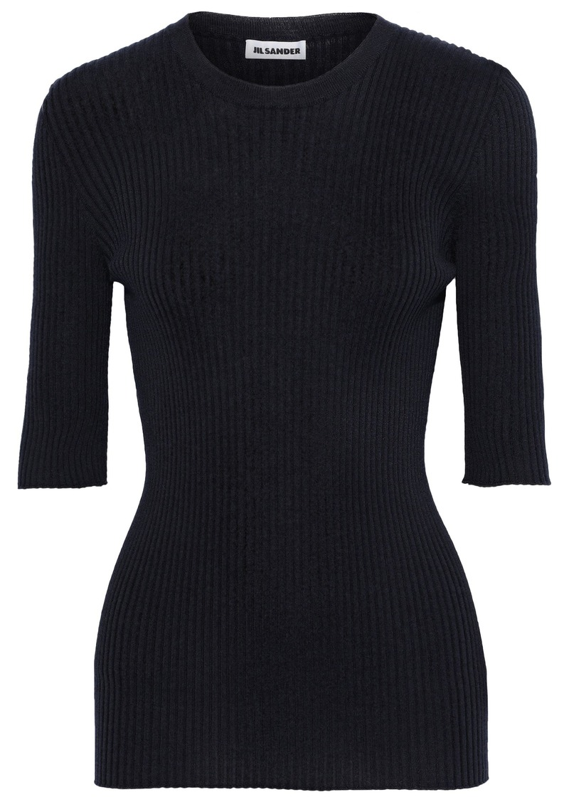 Jil Sander Woman Ribbed Wool And Silk-blend Top Midnight Blue