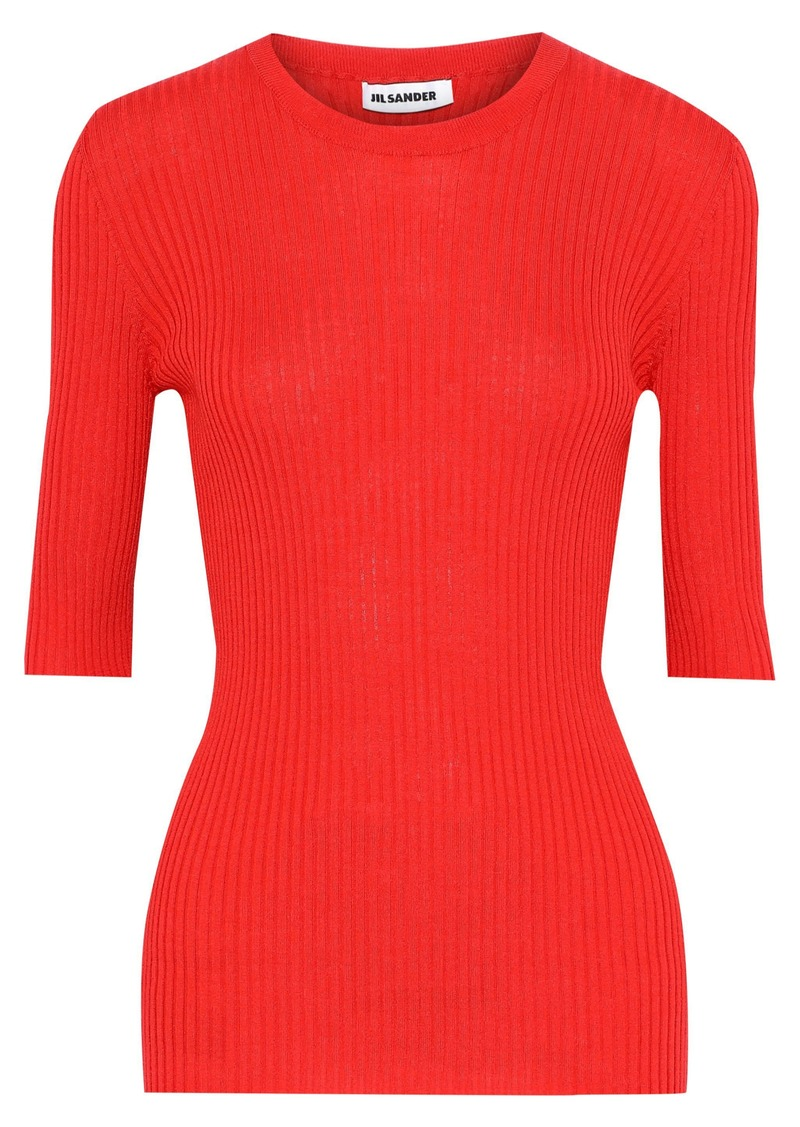 Jil Sander Woman Ribbed Wool And Silk-blend Top Red