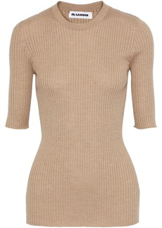 Jil Sander Woman Ribbed Wool And Silk-blend Top Sand