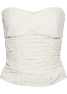 Jil Sander Woman Ruched Canvas Bustier Top Off-white