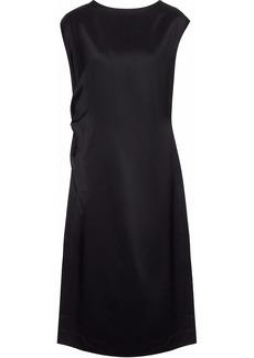 Jil Sander Woman Ruched Duchesse-satin Twill Dress Black