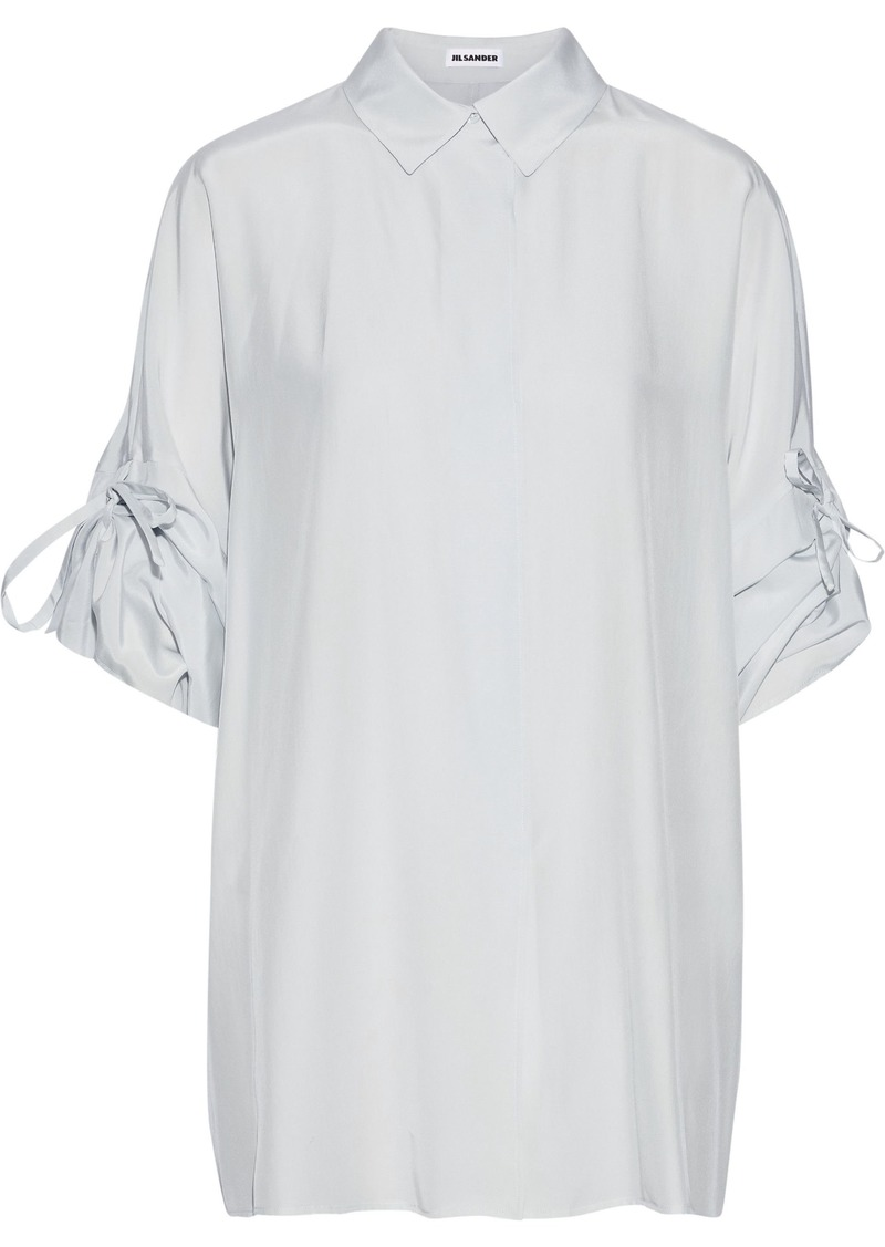 Jil Sander Woman Ruched Silk Crepe De Chine Shirt Sky Blue
