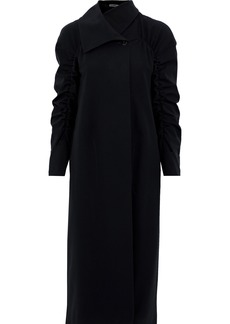 Jil Sander Woman Ruched Wool-blend Gabardine Coat Black