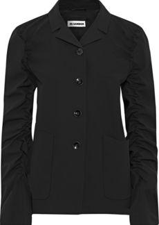 Jil Sander Woman Ruched Wool-blend Jacket Black
