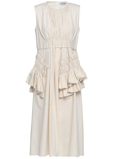 Jil Sander Woman Ruffled Cotton-poplin Midi Dress Ivory
