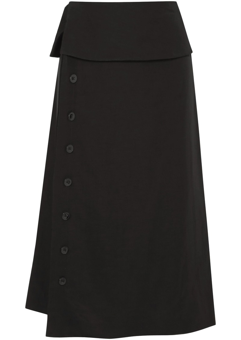 Jil Sander Woman Satin Midi Skirt Black